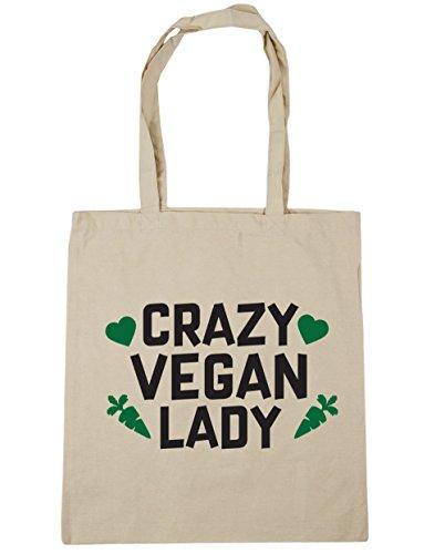 hippowarehouse-crazy-vegan-lady-tote-shopping-gym-beach-bag-42cm-x38cm-10-litres
