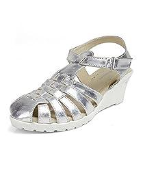 Kittens Girls Silver Synthetic Wedge Sandals (KTG249) - 2.5 UK