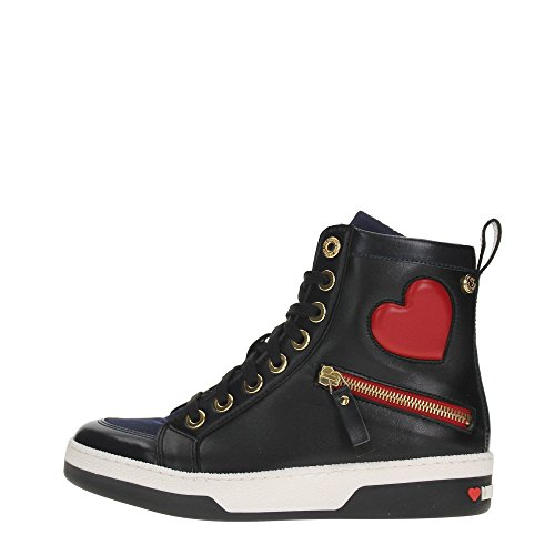 LOVE MOSCHINO sneakers donna ECOPELLE BLACK BLUE JA15033G12IJ175A 36
