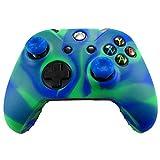 Pandaren Soft Silicone Skin for Xbox ONE Controller Set(bluegreen Skin X 1 + Thumb Grip X 2)