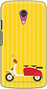 DailyObjects 3 To Go Scooter Striped Yellow Case For Motorola Moto G2