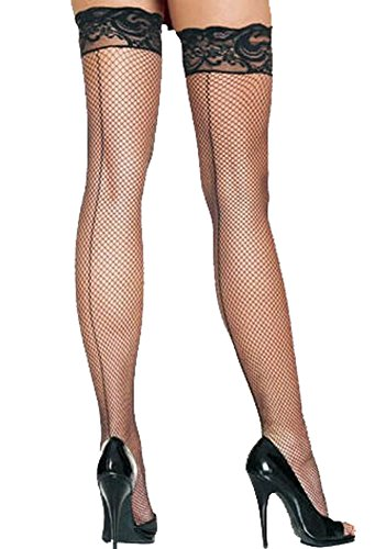 Sexy Womens Black Lace Top Fishnet Stockings with Back Seam Thigh High