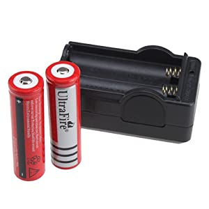 WorthTrust 2 x UltraFire 18650 3000mAh 3.7V Rechargeable Battery + Charger