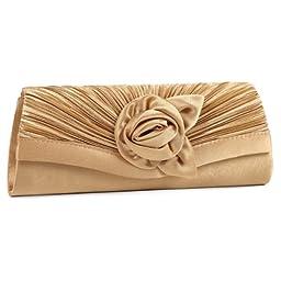 Damara Women\'s Satin Pleated Flower Front Evening Bag Clutch Handbag,Gold