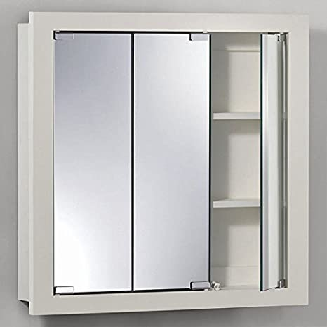 Jensen Medicine Cabinet Granville Tri-View 24W x 24H in. Surface Mount Medicine Cabinet by Lighthouse Distribution Corp