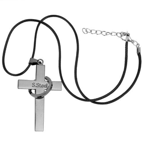 niceeshop(TM) Titan Stahl Lasergravur Kreuz Mit Bibel Geschnitzt Ehepaar Halskette-Stahl Farbe