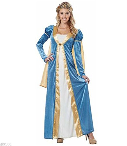Renaissance Queen Woman Costume L 10-12 Medieval Princess Dress Blue Gown Halloween