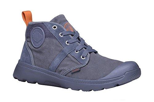 Palladium - Stivali o stivaletti (bottino) di tela uomo, con lacci e punta in gomma, colore grigio scuro, Taglia: 42