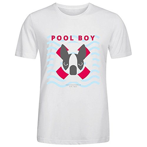FORERIC Boston Terrier Pool Boy Men T Shirts White (Boston Honey Company compare prices)