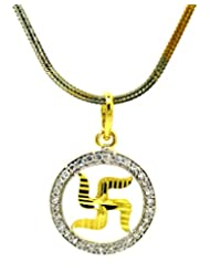 'Swastik' C.Z. Gold Plated Pendant With Chain By BeYou