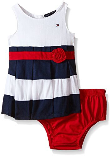 Tommy Hilfiger Baby Girls' Woven Bedford Cord Dress with Panty, Navy/Red, 24 Months