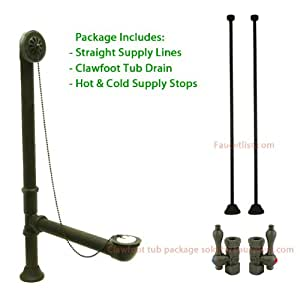 Bronze Clawfoot Tub Hardware Kit Drain Straight Supply Lines Lever Stops