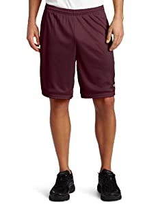 Champion Men's Long Mesh Pockets Short, Maroon, Large