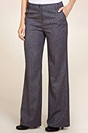 Per Una Herringbone Striped Wide Leg Trousers with Silk