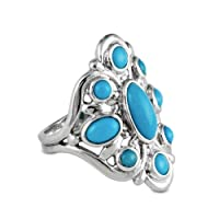 Sterling Silver Sleeping Beauty Turquoise Cluster Ring by Relios