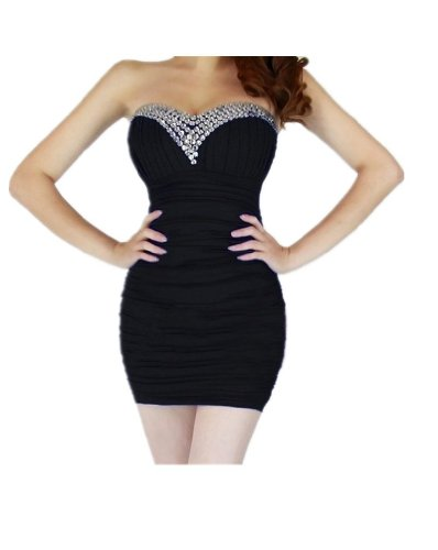 Qiyun Women'S Bling Rhinestone Beaded Short Prom Tunic Gown Strapless Cocktail Clubwear Party Evening Dress - Black