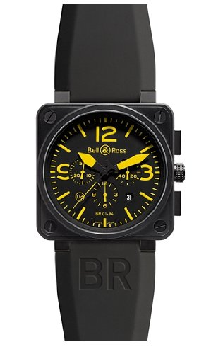 Bell and Ross Automatic Chronograph Black Dial Mens Watch BR0194-YEL