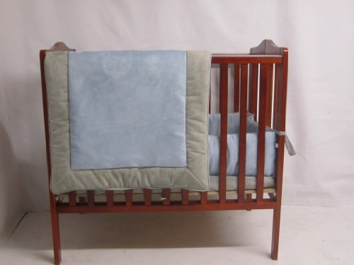 Baby Doll Bedding Zuma Port-A-Crib Bedding Set, Grey/Blue