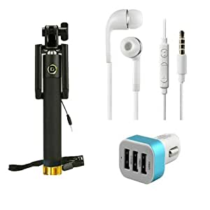 Premium Travel 3.5 mm Jack Universal Handsfree+ 3 Jack Car Charger+Sefie Stick Aux Compatible with Micromax Yu YU5200