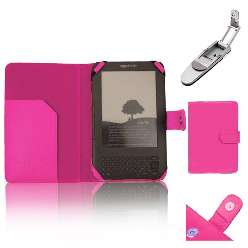 """Xtra-Funky Exclusive Pu Leather Book Wallet Folio Style Case For Amazon Kindle 3 (Black 6"""" E-Ink Display Keyboard Model) With Clip On Robotic Folding Light - Hot Pink"""