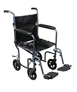 Drive Medical Flyweight Lightweight Transport Wheelchair with Removable Wheels, Blue, 19""