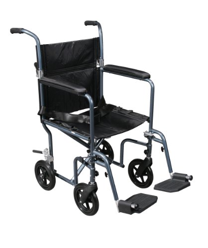 "Drive Medical Flyweight Lightweight Transport Wheelchair With Removable Wheels, Blue, 19"" front-907966"