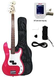 crescent electric bass guitar starter kit pink color includes crescenttm digital. Black Bedroom Furniture Sets. Home Design Ideas