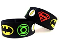 DC Comics The JUSTICE LEAGUE Set of 2 Rubber Bracelet WRISTBANDS