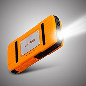 Waterproof External Battery - UNIFUN 10400mAh Power Bank Dustproof Shockproof with Strong LED Flashlight and Strap Hole For Outdoor Sport and Charge f