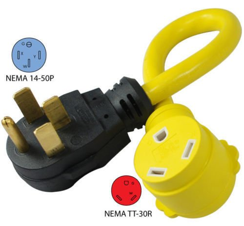 OMWAH 50A Male to 30A Female RV Power Pigtail Adapter Connector (30 Amp Rv Power Adapter compare prices)