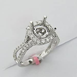 0.63CT Vintage Split Shank Halo Diamond Engagement Ring Setting 18KT White Gold -IDJ015399