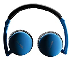 Boompods Skypods Wireless Fold-Flat Travel Bluetooth Headphones with USB Charging Cable Audio Cable - Blue