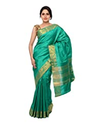 Chandan Sarees Silk Zari Rama Green Saree