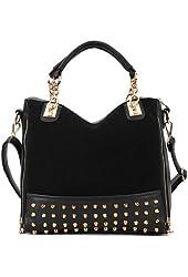 Highwinwin Fashion Women Lady Rivet Studded Tote Medium Handbag Shoulder Bag Tote (Black)