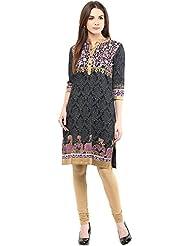 Indi Dori Women's Cotton Black & Pink Sparkle Printed Kurti