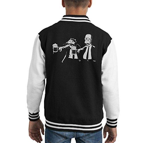 Pulp Fiction Homer And Barney Simpsons Kid's Varsity Jacket