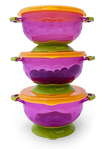 buy Suction Baby Bowls 1st Stage with Seal-Easy Lids-3 Small Size Hold 6oz- To-Go for sale