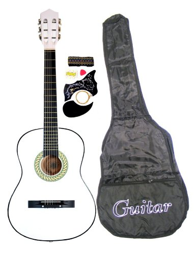"38"" White Acoustic Guitar Starter Package, Guitar, Gig Bag, Strap, Pitch Pipe & Directlycheap(Tm) Translucent Blue Medium Gu"