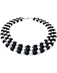 Trendy Souk --Alda -- South Sea Shell (6-8 Mm) 3 Line White And Black Pearls Necklace