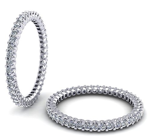 0.75Carat Round Brilliant Cut Diamonds Full Eternity Wedding Ring,9k White Gold