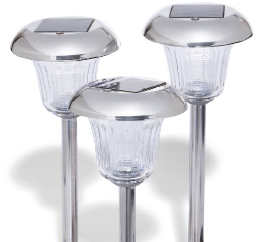 sale solar path lights stainless steel set of 10 landscape lighting. Black Bedroom Furniture Sets. Home Design Ideas