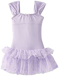Capezio Little Girls\' Ruched Strap Dress, Lavender Butterfly, Large