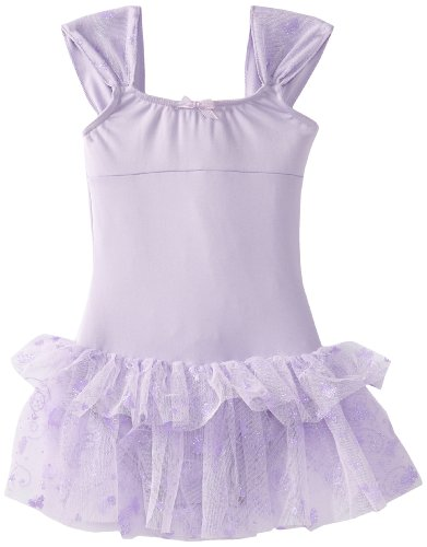 Capezio Baby Ruched Strap Dress, Lavender Butterfly, Infant front-972355