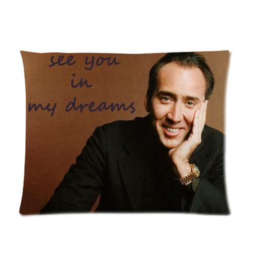 "Butuku Custom Fashion Star Nicolas Cage Dreams With You ""See You In My Dream"" Brown Pillowcase Pillow Case Covers 20X26(One Side) front-598590"