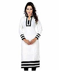 Shubh Women's Cotton Kurti (Shubh_178_White_Free Size)