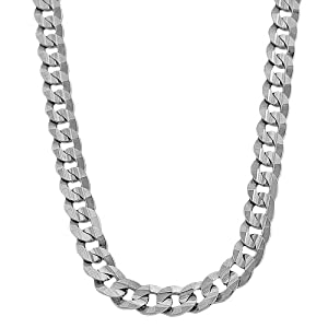 14 Karat White Gold Curb Link Men's Necklace (9.7mm, 24 inch)