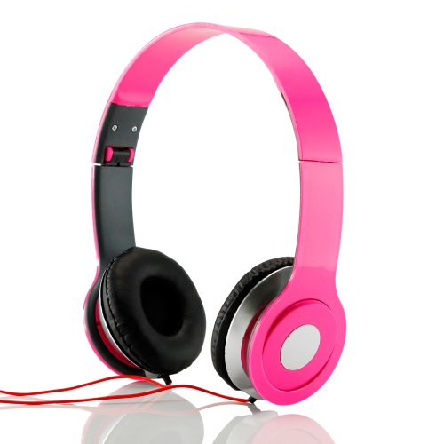 Gearonic Adjustable Circumaural Over-Ear Stereo Headphone For Pc, Mp3, Mp4, Ipod, Iphone, Ipod And Tablet - Non-Retail Packaging - Hot Pink