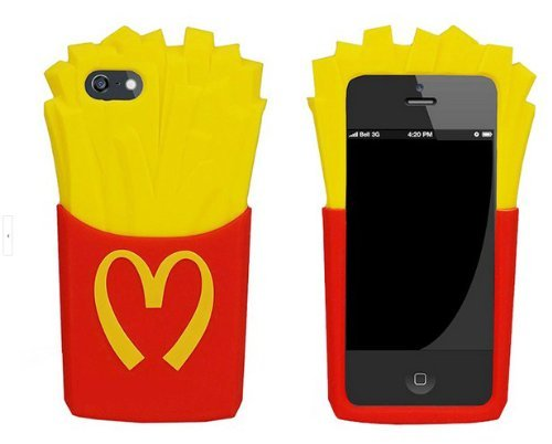 Red & Yellow iphone 5 NEW 3D Soft Back Cover French Fries Silicone Protective Case for Iphone 5 5G 5S