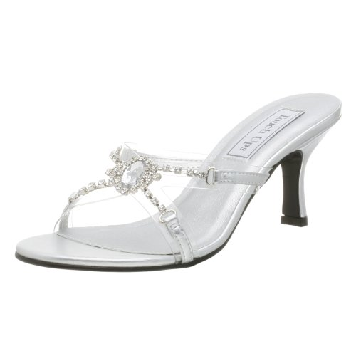 Touch Ups Women's Tiffany Slide,Clear/Silver,9 M