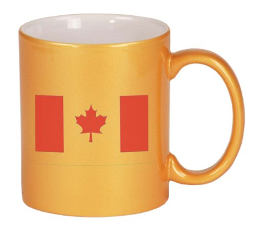 CANADA / CANADIAN FLAG Coffee Mug Metallic Gold 11 oz